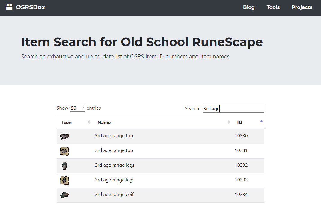 OSRSBox | Blog | WaterCooler: New OSRS Item ID Search Tool