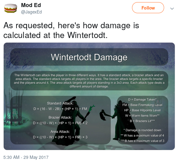 Tweet from Mod Ed outlining the Wintertodt Damage Formulas for the three different attacks.