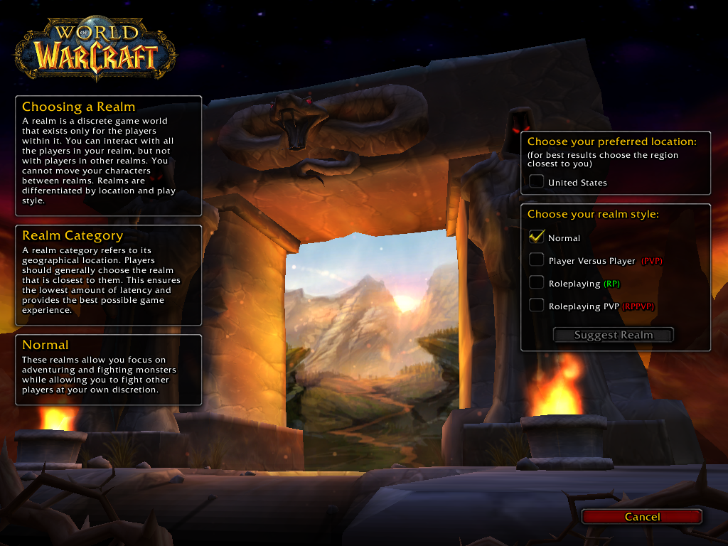 Example realm selection for the WoW vanilla client.